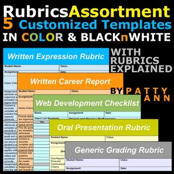 rubrics variety >5 editable word docs templates =oral+written+, Presentation templates