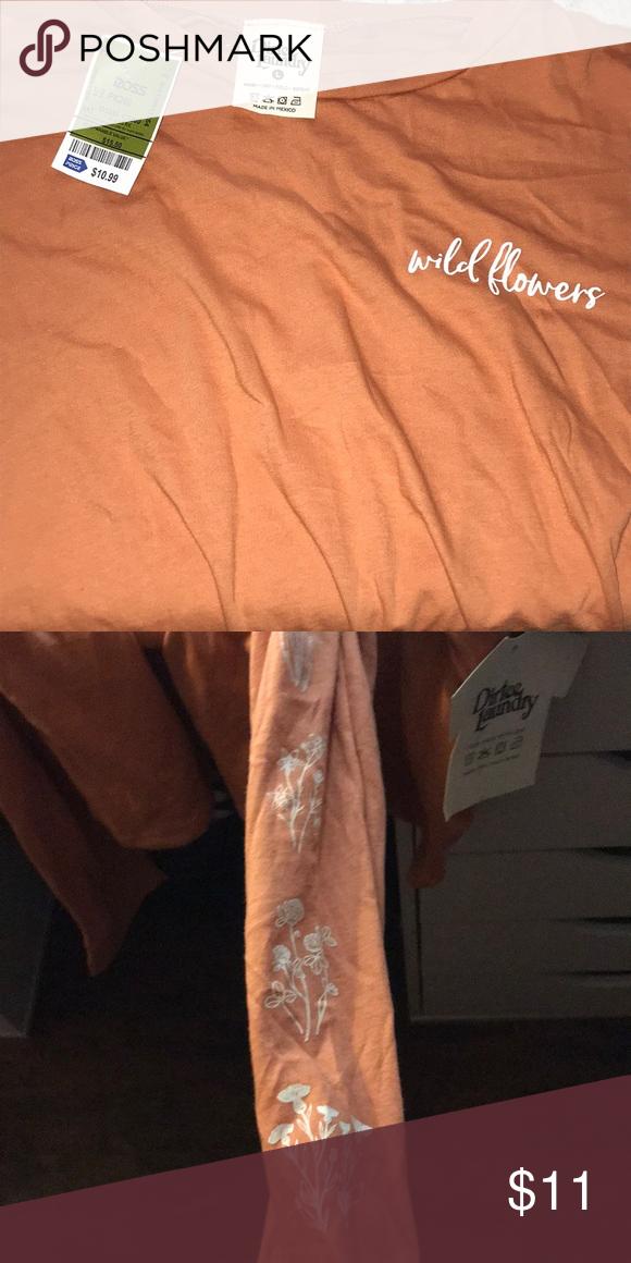 Peach Shirt Wild Flower Dirtee Laundry Brand Nwt Peach