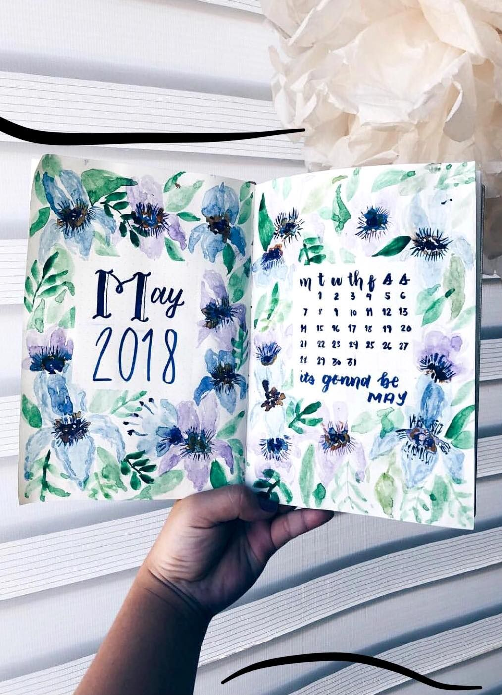 Watercolor Bullet Journal Monthly Spread By Ig Berrymixbujo