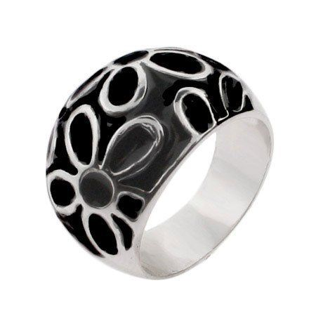 Black Enamel Sterling Silver Daisy Ring Eve's Addiction. $66.00. Approximate Weight: 6.6 grams. Metal Finish: rhodium-finished-sterling-silver. Charm Size: 5/8 inch