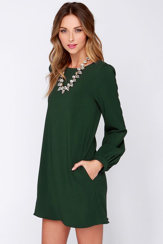 9fa0c2a1d Perfect Situation Dark Green Long Sleeve Shift Dress | Cute Dresses ...