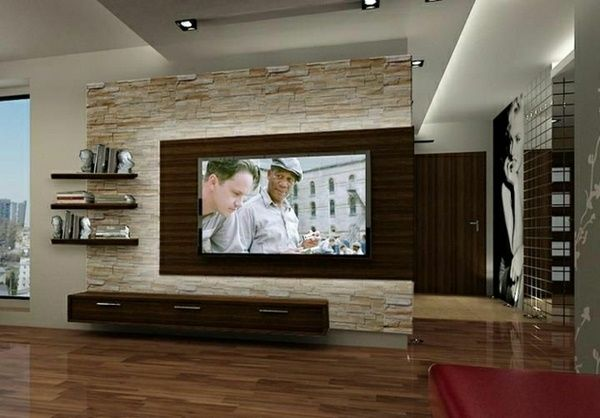 living room tv wall design. Wall panels stone look living room set wall design