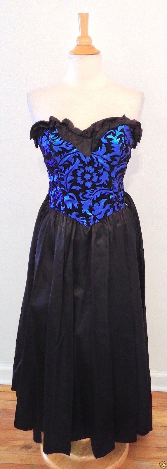 Vintage gunne sax blue shimmer black velvet satin formal gown prom