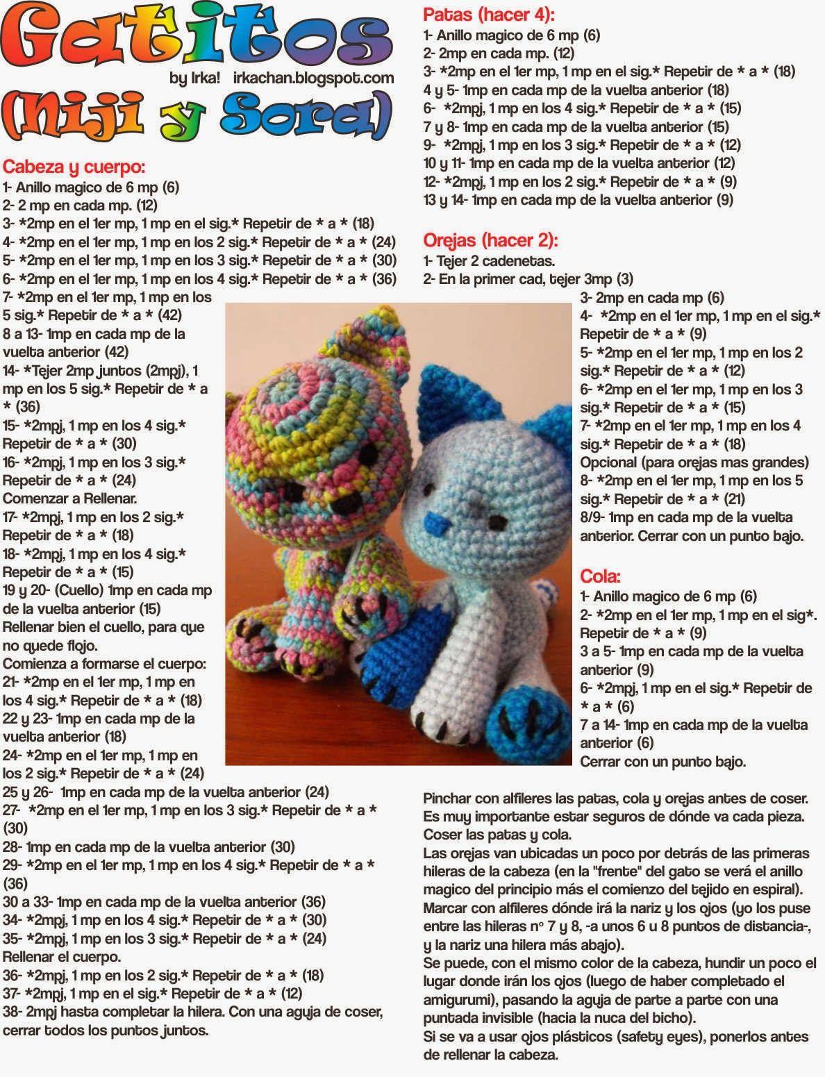 Irka!: Gatitos Multicolor - Patron Gratis | amiguri | Pinterest ...