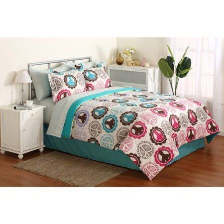 Girl Pink Purple Lime Green Teal Peace Sign Full Comforter Set (8pc Bed In A
