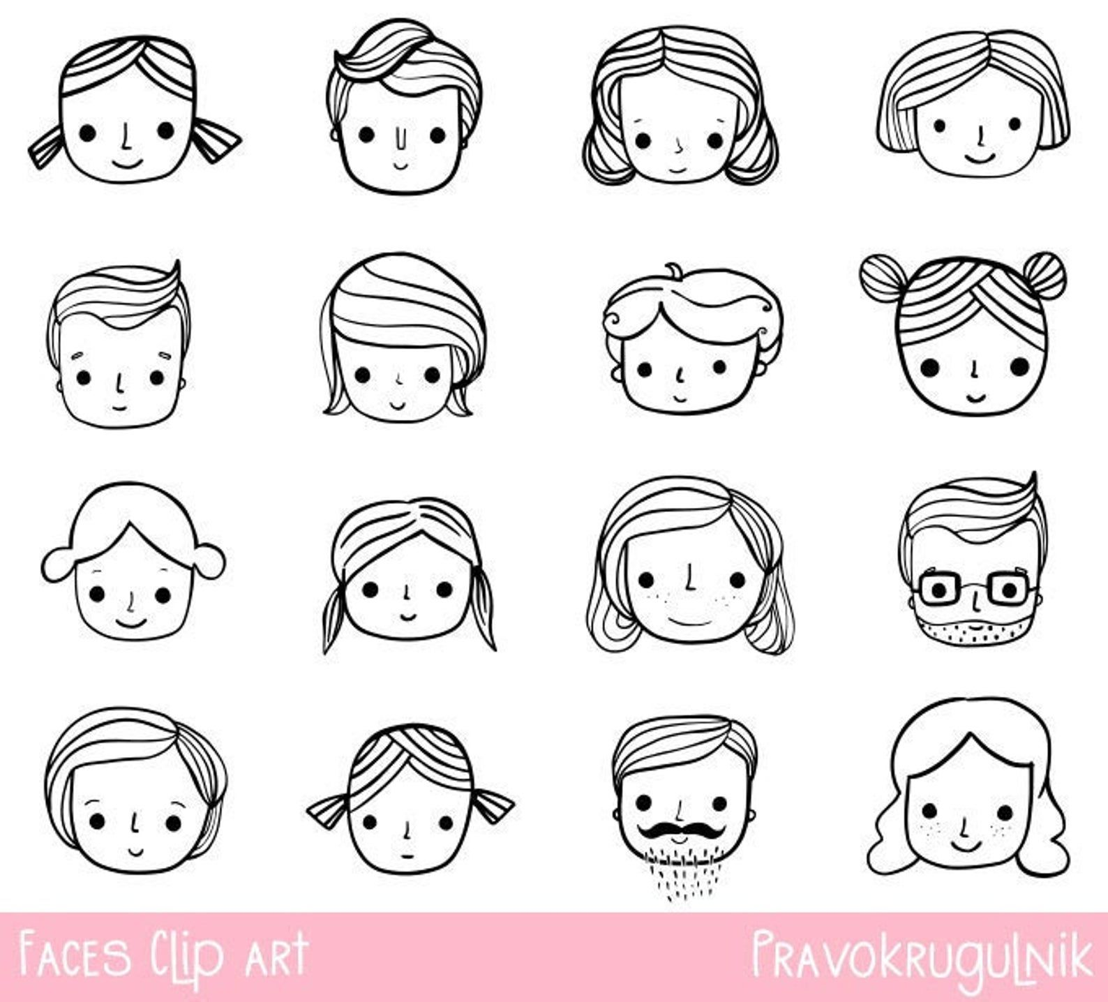 Hand Drawn Faces Clip Art Doodle Outline Face Clipart Black Etsy In 2021 How To Draw Hands Face Doodles Face Drawing