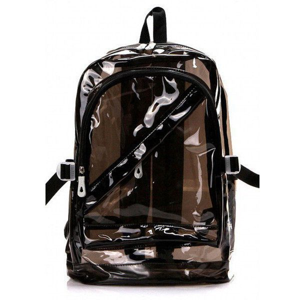 38b0eb80f8 Bright colored 90s vintage overstock clear Jelly backpack bag black ...