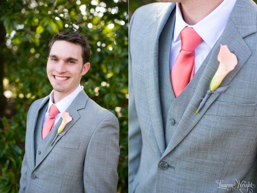 Groom gray suit coral tie Married John Sophie Atlanta