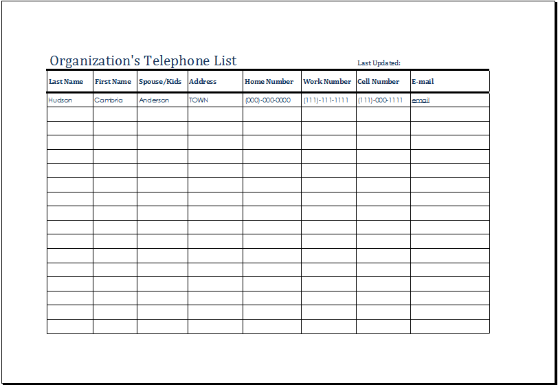 organizations telephone list template at http://www.xltemplates.org ...