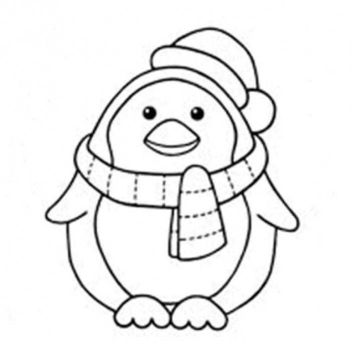 Penguin on ice wearing a Santa hat coloring page for kids ...