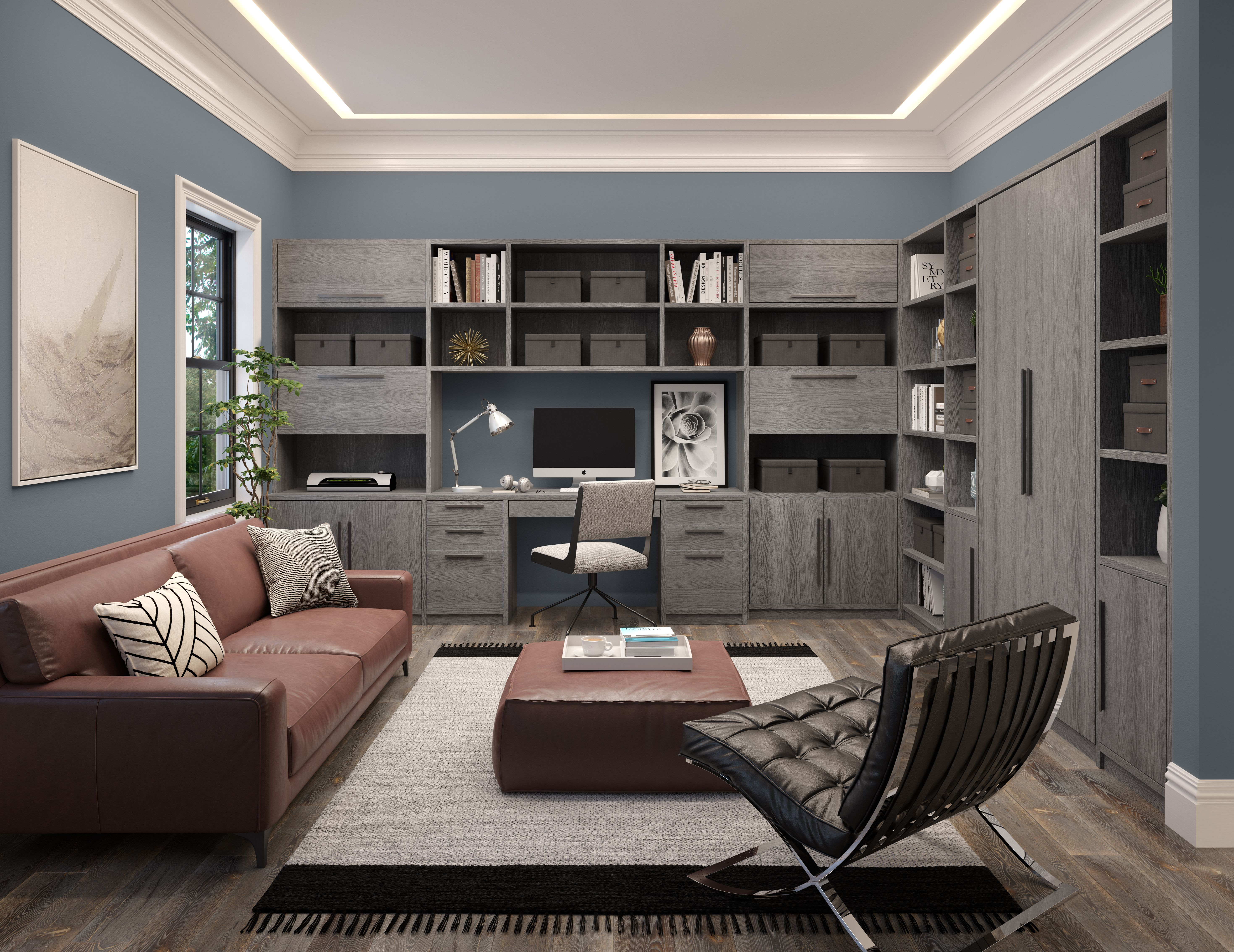 This custom home office space offers custom storage