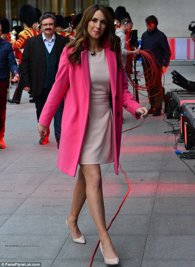 Fahsionista: Alex teamed her dress with matching stiletto heels and an eye-catching fuchsi...