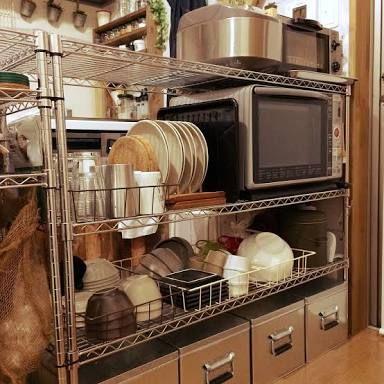 あえて見せる メタルラック収納 メタルラック 収納 キッチン 収納