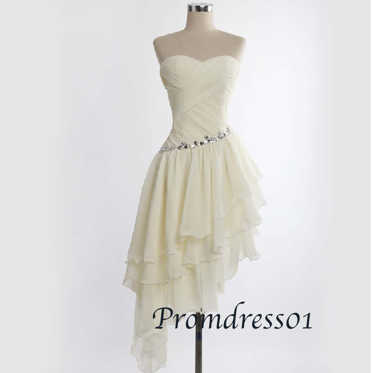 cute sweetheart strapless light champange beaded high low