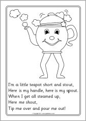 I M A Little Teapot Colouring Sheets Sb4285 Sparklebox
