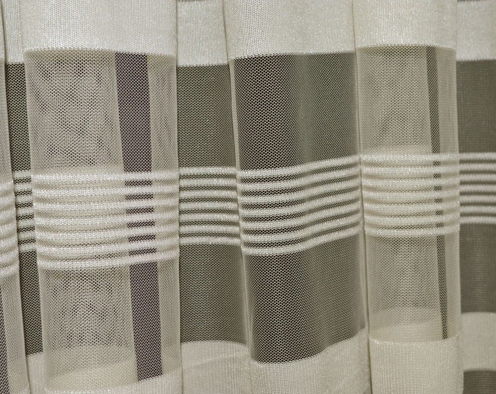 Q103 Beige With Stripe Pattern Soft Mesh Net Fabric Curtain Material By Yard Unbranded
