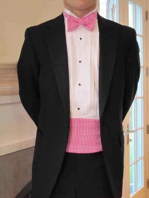 054be529be05 Silk Gingham Cummerbund Bow Tie Set-Pink | Men's Favorites | Tie ...