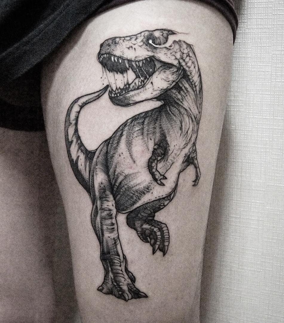 velociraptor skeleton tattoo the image kid has it. Black Bedroom Furniture Sets. Home Design Ideas