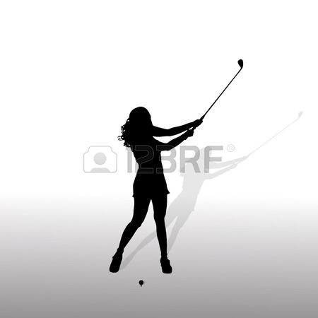 HIBISCUS Female Golfer Vinyl Decal Sticker A