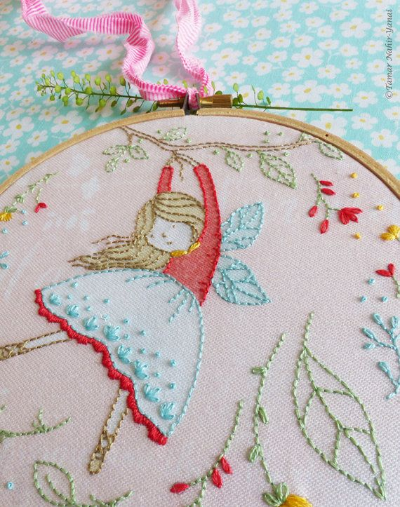 Embroidery kit hand embroidery flying fairy fairy nursery embroidery kit hand embroidery flying fairy fairy nursery christmas gift for her girl gift ideas craft kits girls hoop art diy kit solutioingenieria Image collections