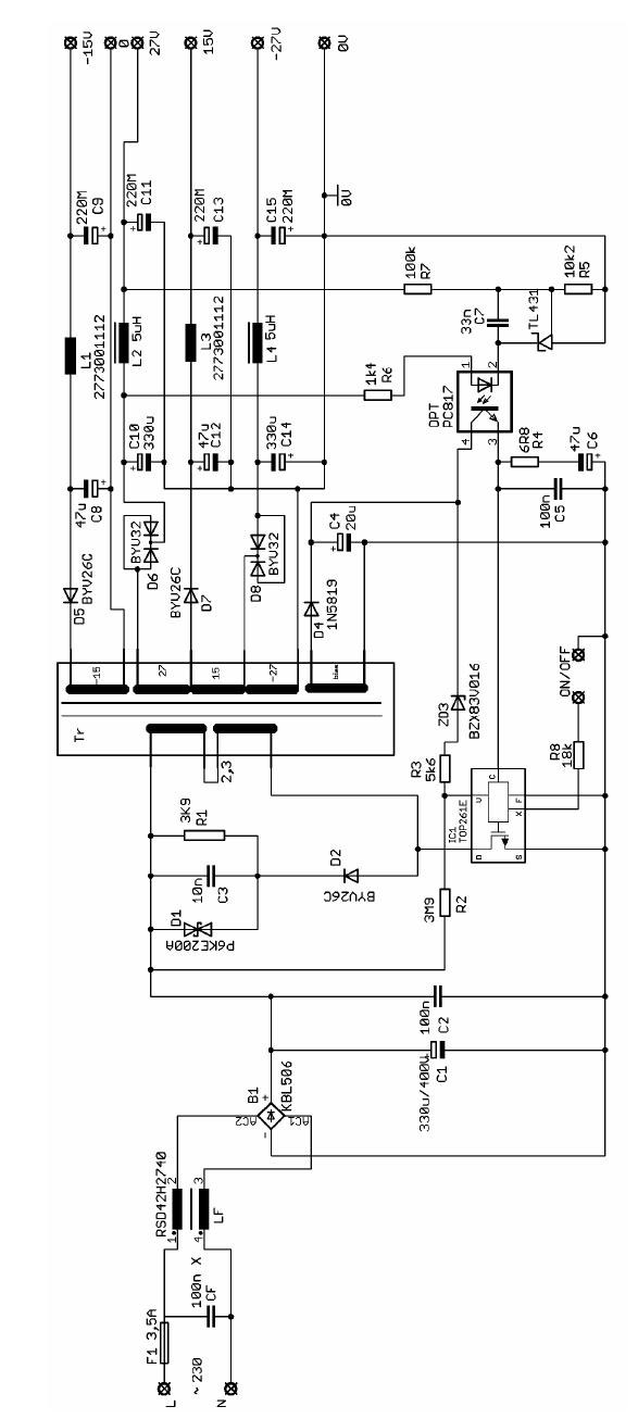 Top261 Amplifier Power Supply Class D Smps Top261 Schematic Switch Mode Power Supply Circuit