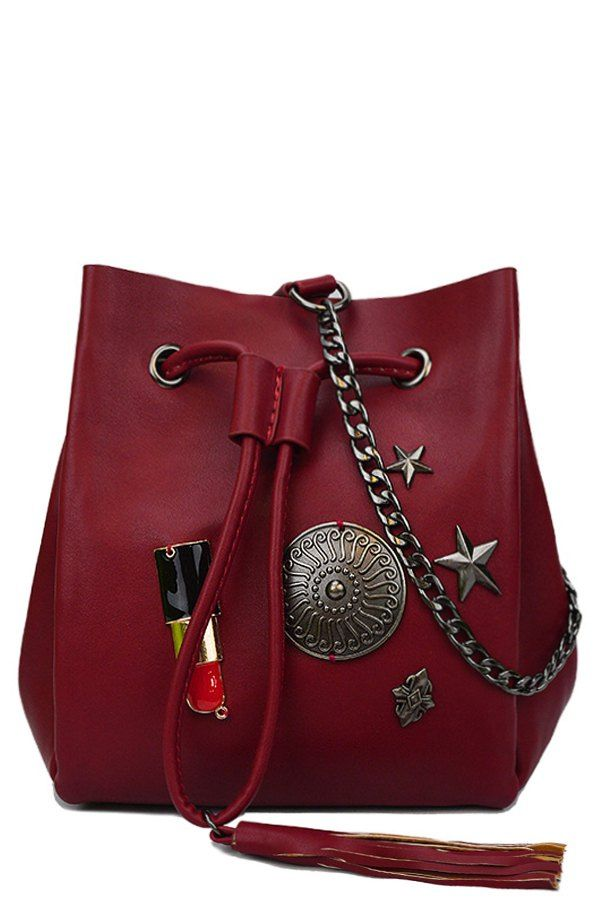 Lipstick Medal Chains Crossbody Bag
