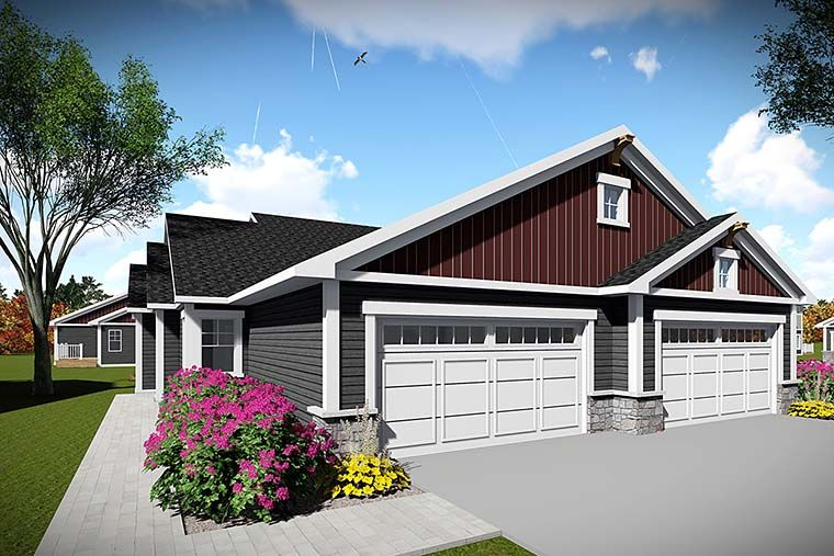 Craftsman Style MultiFamily Plan 75443 with 4 Bed , 4