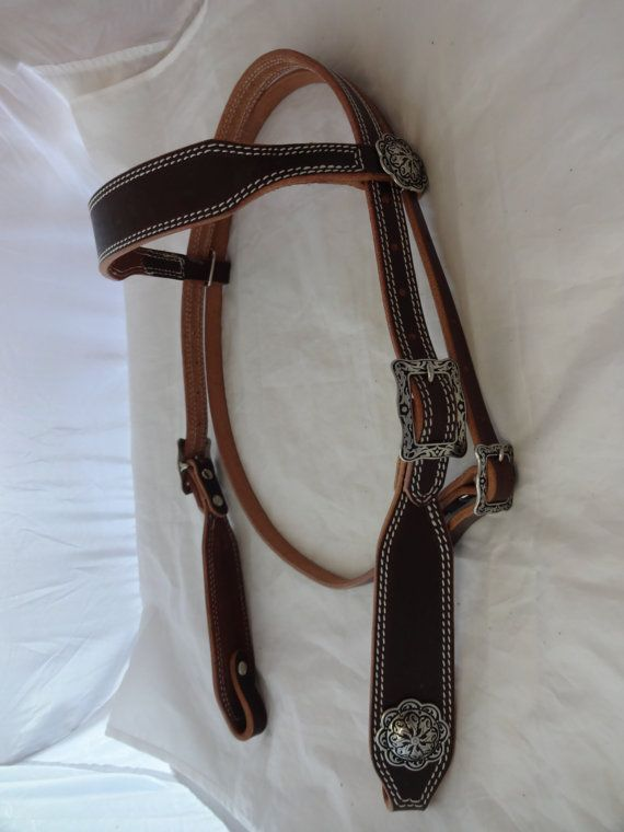 Double Row White Stitched Hermann Oak Bridle Leather Headstall