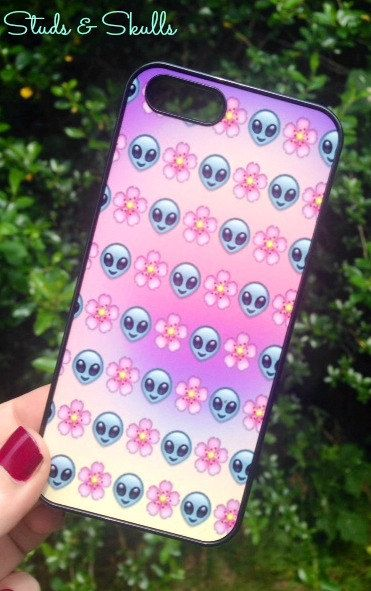 Iphone 5 5S Phone Case Emoji Alien Floral Print by StudsandSkulls ...