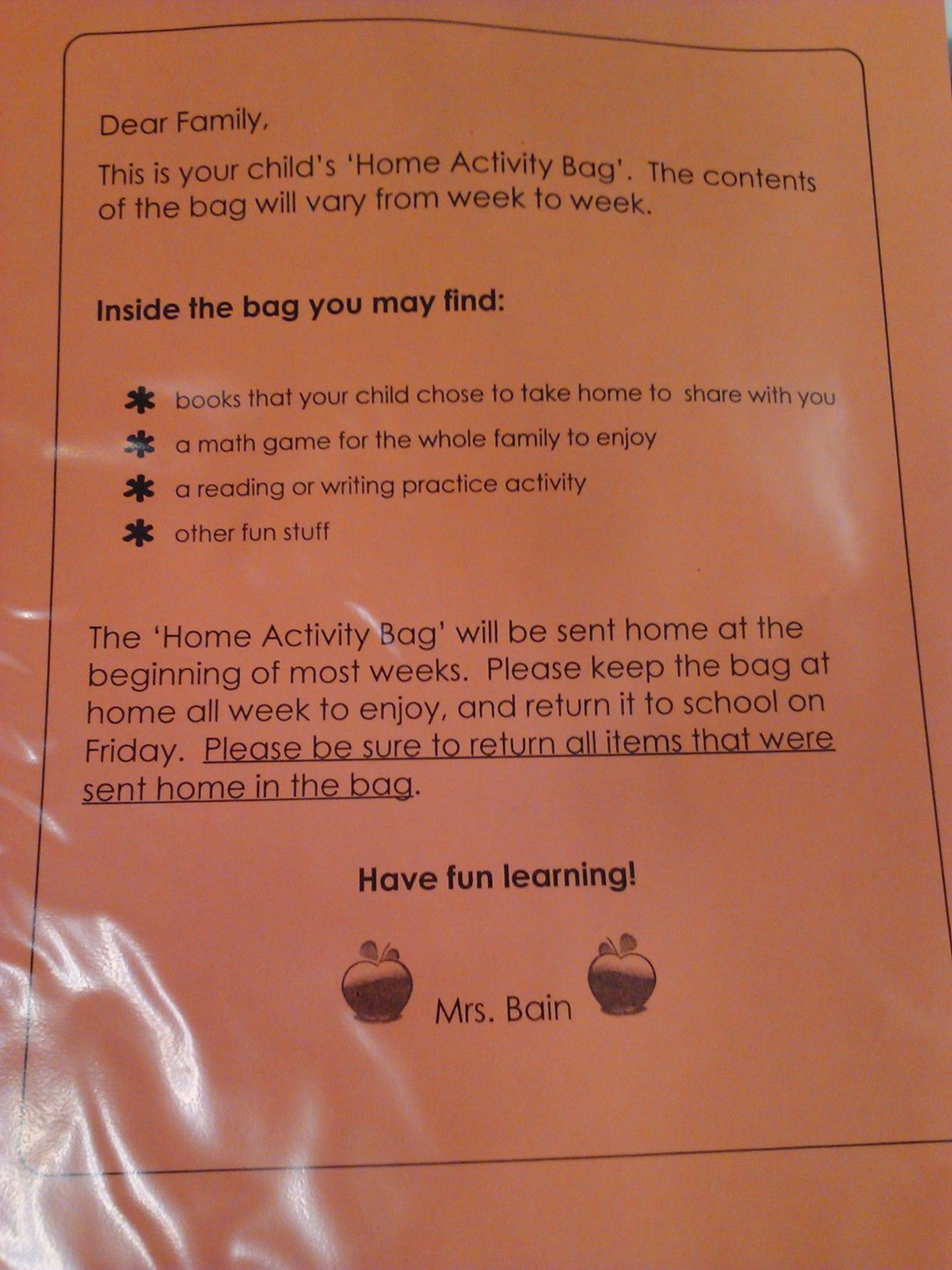 Home Activity Bag I E Homework Bag The Student Is Given Something To Work On At Home