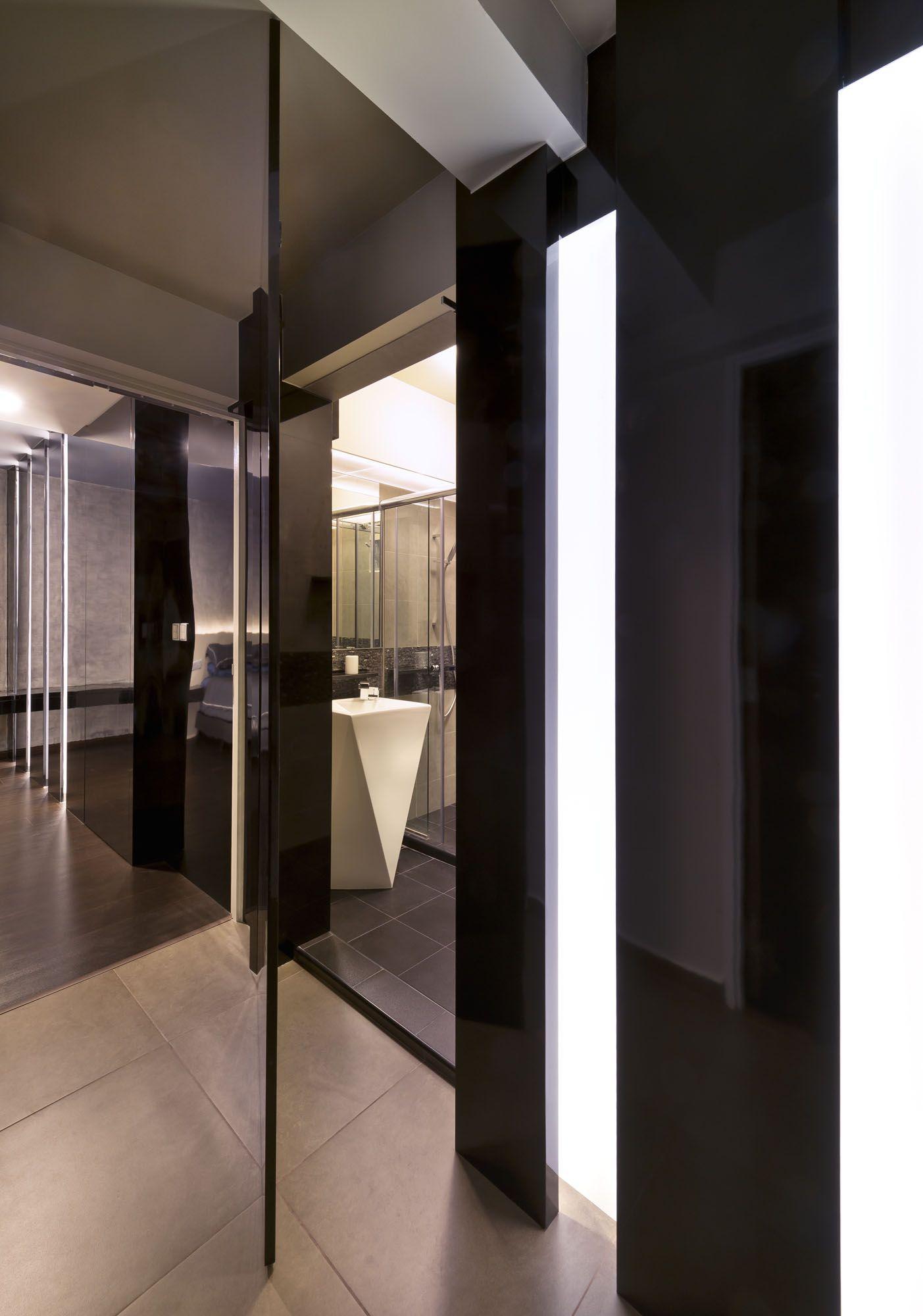 Hidden bathroom door - Tinted Mirror Hallway Hidden Bathroom Door Lighting Wood Flooring