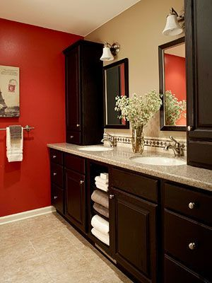 Dual Vanity With Tall Storage Upper Cabinet Bathroom Pinterest - Bathroom vanity with upper cabinets