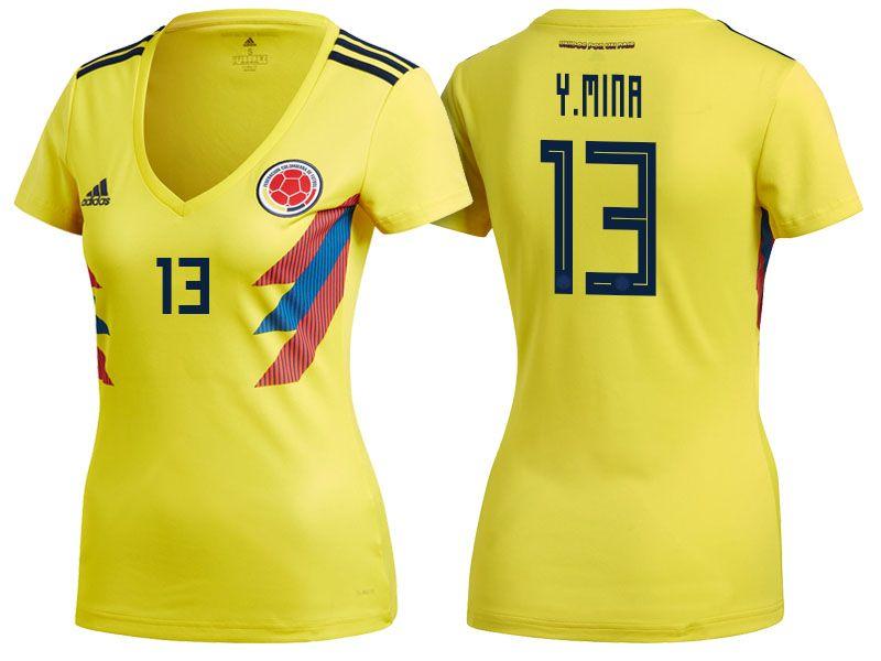 e9b4b6ce9179e World Cup 2018 Colombia Soccer Jersey Women yerry mina Football Shirt