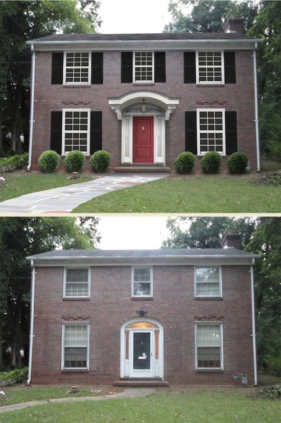 Curb appeal 8 stunning before after home updates for Brick front house cost