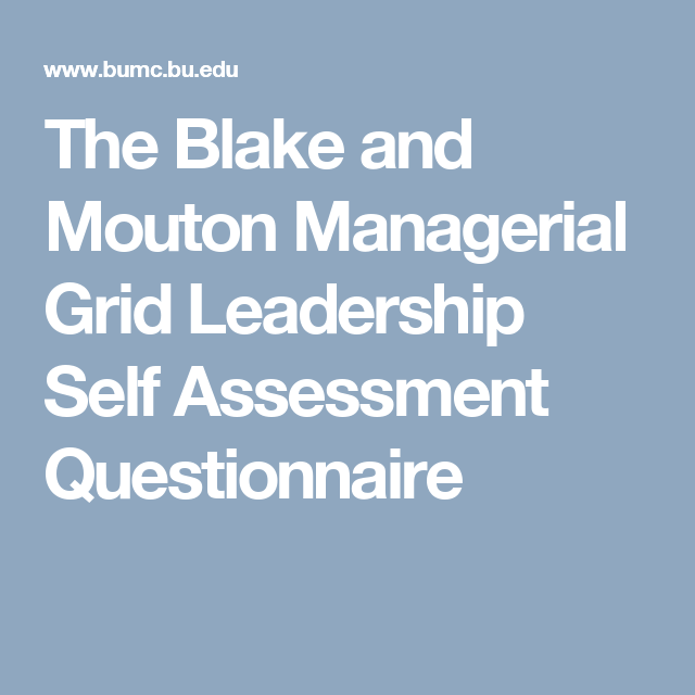 The Blake and Mouton Managerial Grid Leadership Self Assessment ...
