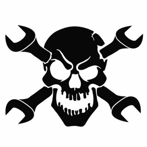 Skull Wrench Laptop Car Truck Vinyl Decal Window Sticker PV - Skull decals for trucks