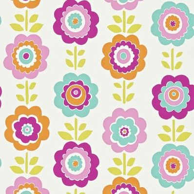 Pink / Turquoise / Lime - 110547 - Oopsie Daisy - Floral - All About Me - Harlequin Wallpaper