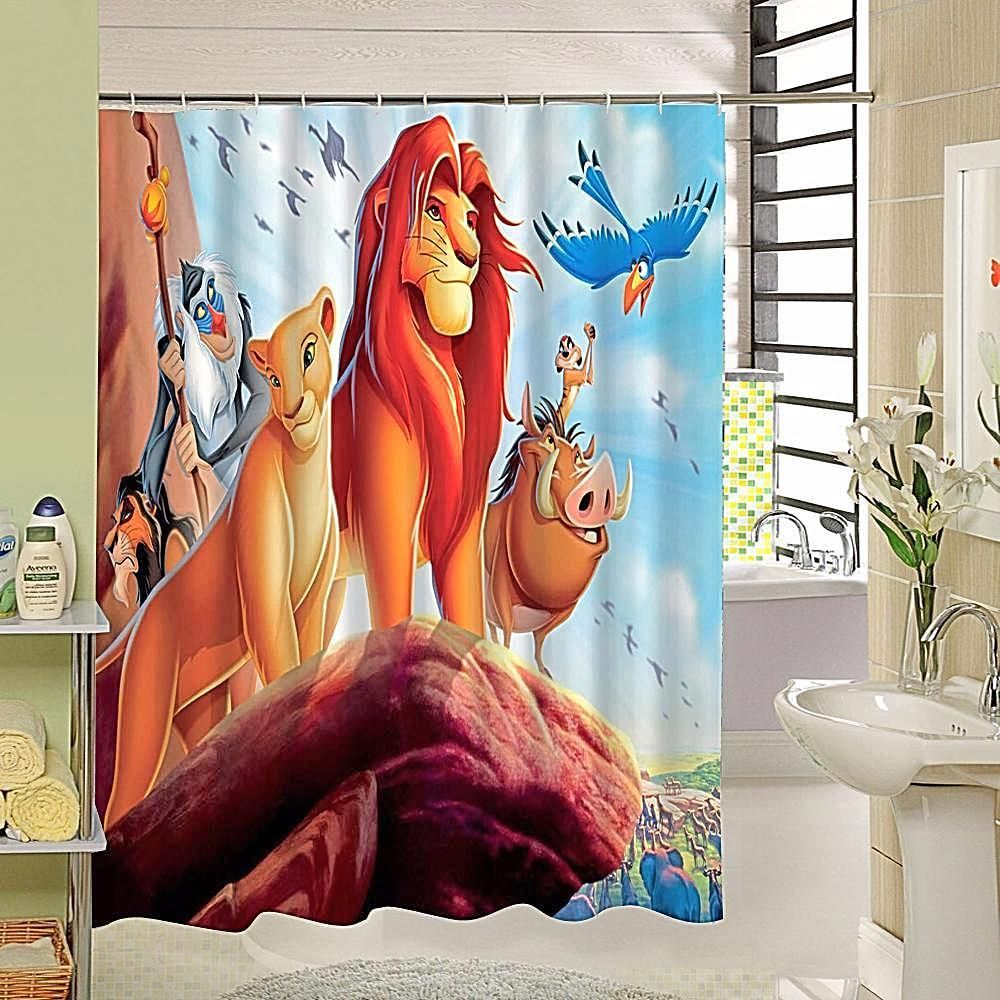 2017 New Cute Lion King Shower Curtain With High Quality