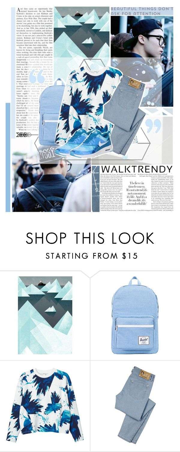 """""""A normal guy like me doesn't fit your standards so I wore a """"friend"""" mask Hiding my true feelings when I'm next to you - Beautiful, BTS"""" by fadingcentury ❤ liked on Polyvore featuring Herschel Supply Co., Monki, D&G and NIKE"""