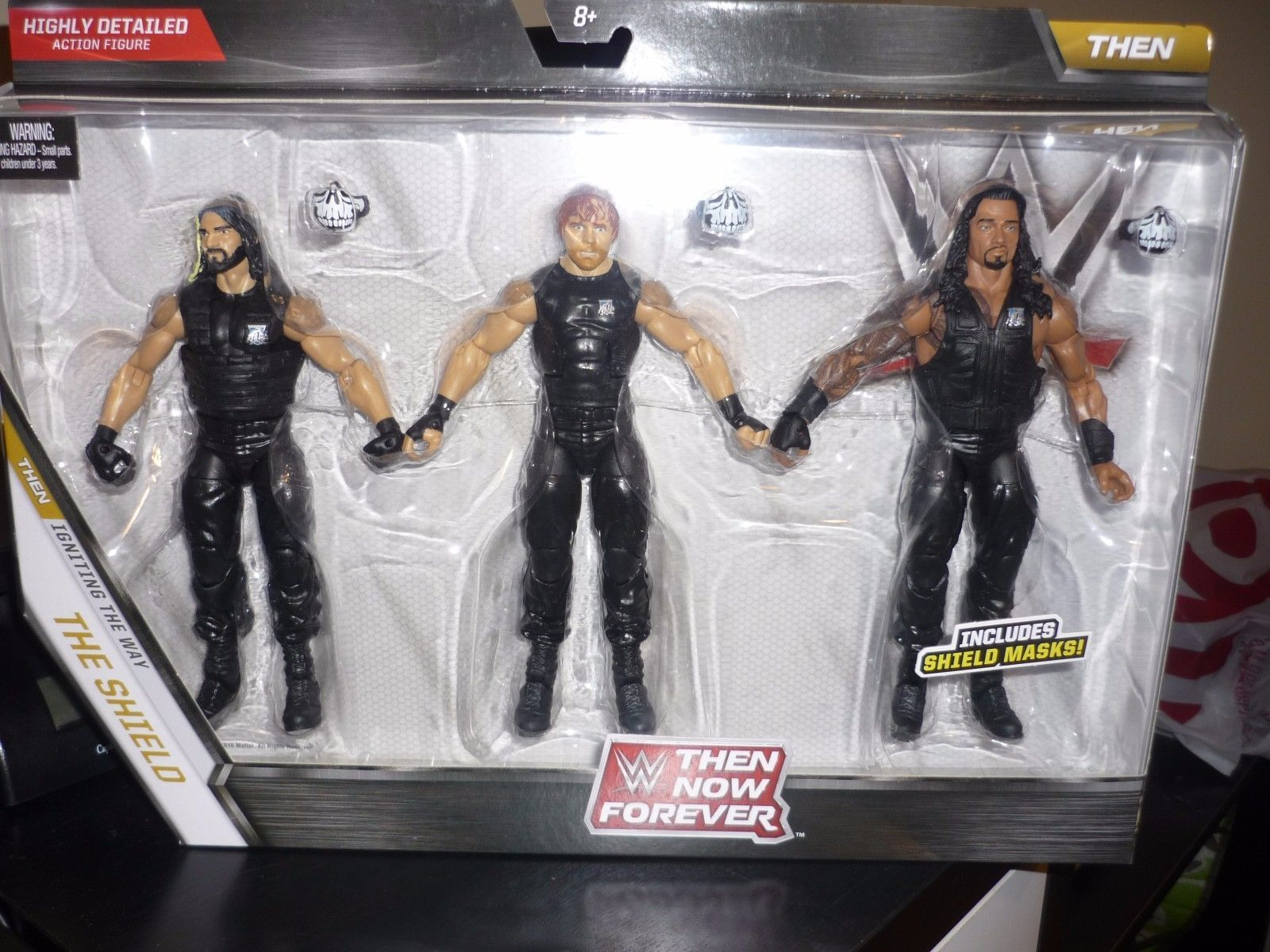 Exclusive Action Figures Elite Collection Then Now Forever Seth Rollins The Shield and Roman Reigns Dean Ambrose WWE