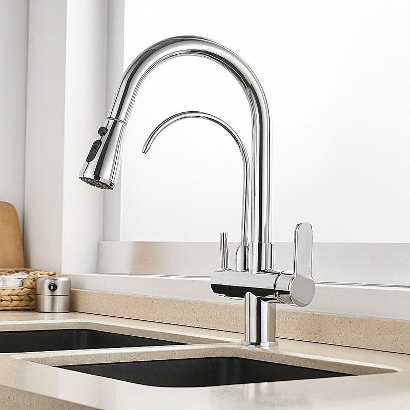 Modern Water Filter Kitchen Faucet Pull Out Kitchen Faucet In Polished Chrome Matte Black Swivel Kitchen Faucet Solid Brass Kitchen Mixer Taps Pull Out Kitchen Faucet Kitchen Taps