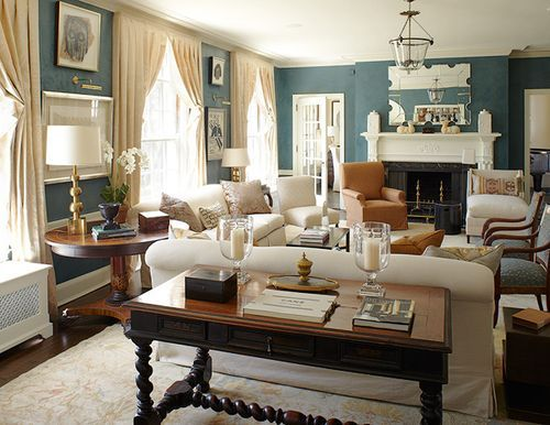 Rectangular Living Room With Orientation To Fireplace And Lots Of