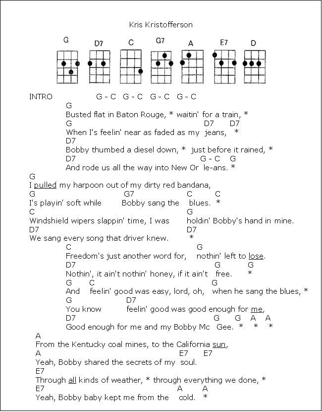 Me-and-Bobby-McGee.1.png 650×830 pixels | Guitar chord Songs ...