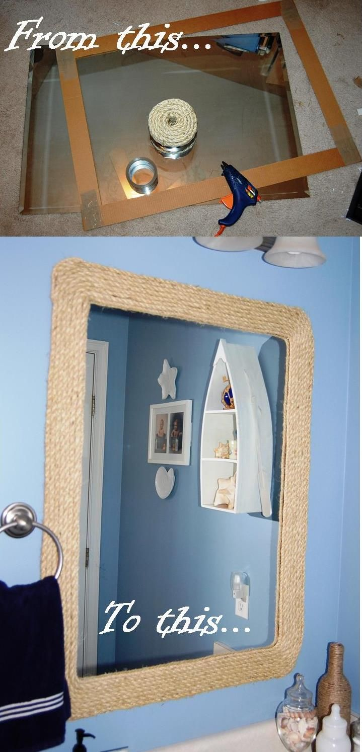 how to glue a bathroom mirror to the wall new house project rope mirror for nautical bathroom 26492