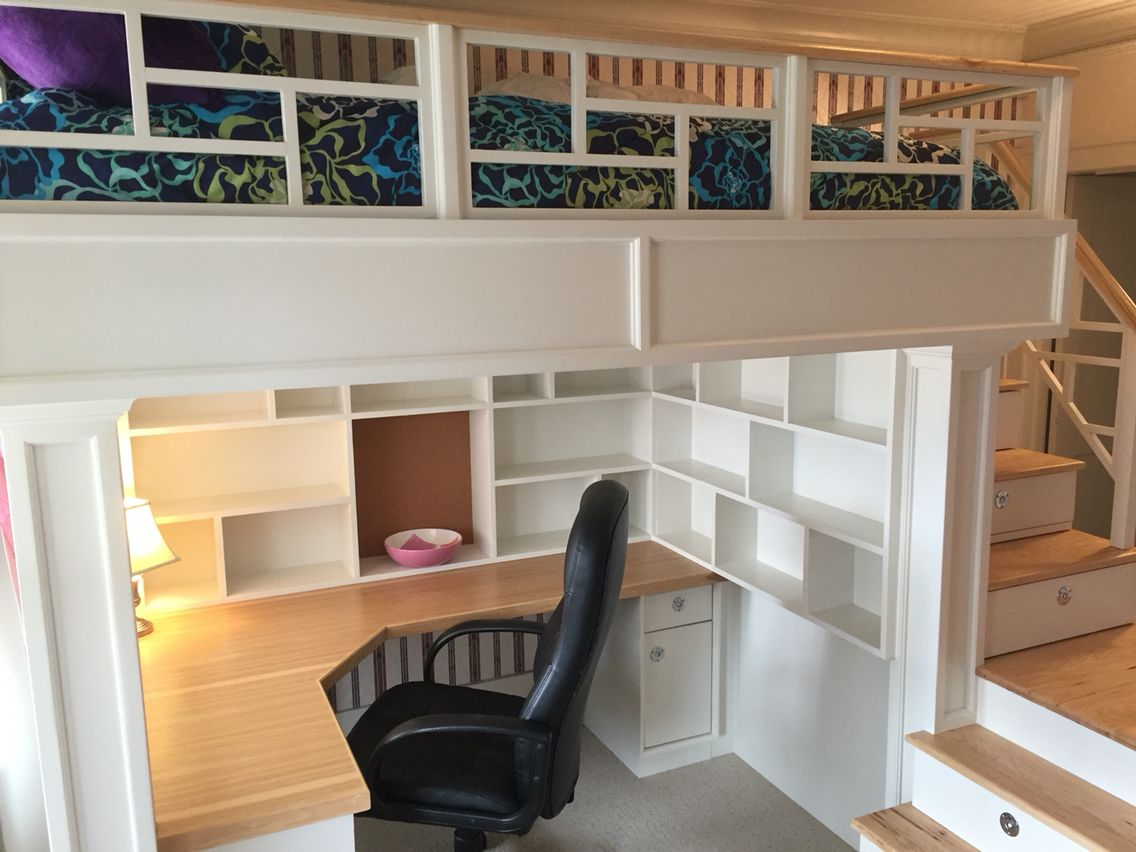 Loft bed with desk and stairs  Loft Bed with stairs shelves and desk  ไอเดย  Pinterest  Stair