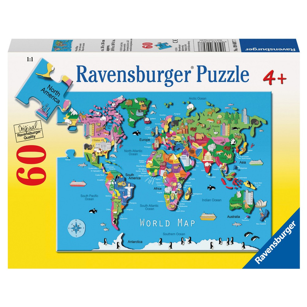 Ravensburger world map puzzle 60 pieces products ravensburger world map puzzle 60 pieces gumiabroncs Image collections