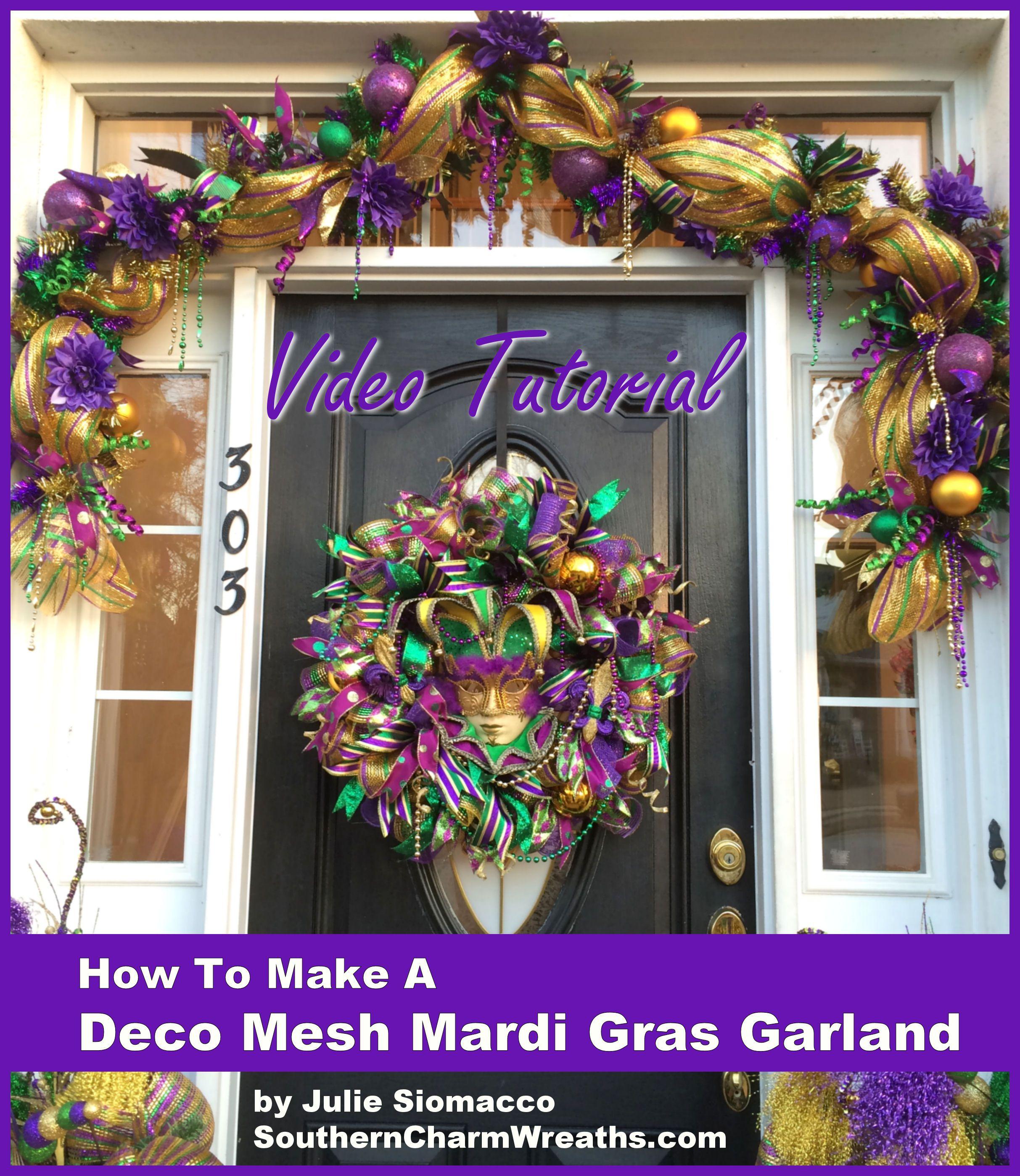 Diy Mardi Gras Garland Decorations With Deco Mesh, Ribbon, Ornaments,