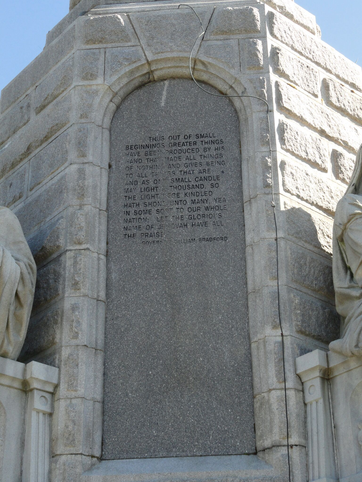 The Christian origin and foundation of the United States engraved years ago in granite, lest we forget. Forefathers Monument, Plymouth, MA