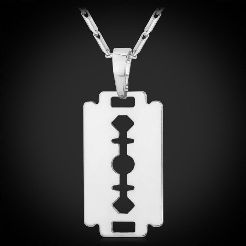 18K Real Gold/Platinum Plated Razor Blade Pendant Necklace ...