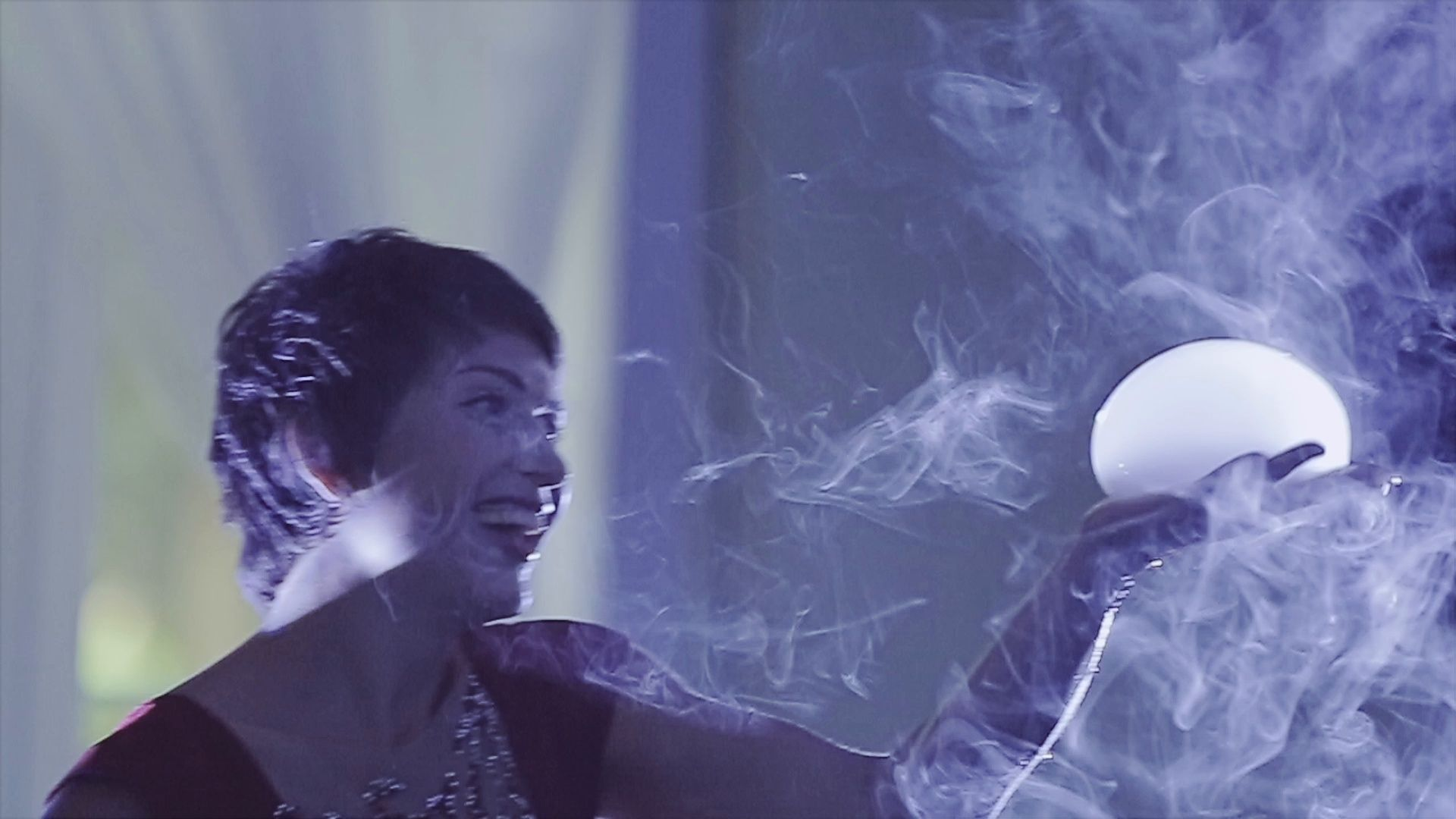 A wonderful show of soap bubbles with smoke and beautiful
